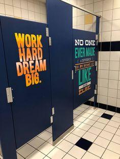 Middle school redecorates bathrooms to inspire students school hallway decorations, hallway decorating, hallway ideas School Hallways, School Murals, Art School, School Stuff, School Ideas, School Classroom, Classroom Decor, School Hallway Decorations, Hallway Ideas