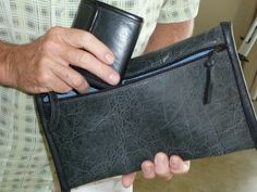 all leather denium linning #man bag #wallet #leather #jackie robbins