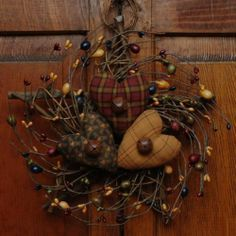 Love these colors!!! I have this exact wreath in craft room & just need to add the prim hearts to it. Temporarily so I can still use it in fall. Small Handmade Primitive Star Twig Valentine Everyday Heart Cupboard Wreath | eBay