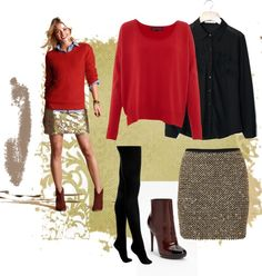 A fashion look from January 2013 featuring knit sweater, cotton sweaters and button-down shirt. Sparkly Skirt, Gold Skirt, Sequin Skirt, Autumn Winter Fashion, Fall Winter, My Style, Spring, Skirts, Polyvore