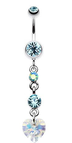 Cascading Prism Heart Belly Button Ring