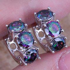 925 SS Rainbow Mystic Topaz Huggie Earrings Captivating Rainbow Mystic Topaz 925 Sterling Silver Huggie Hoop Earrings Jewelry Earrings