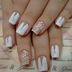 98 cute nail art designs to welcome summer page 31 98 cute nail art designs to welcome summer page 31 Love Nails, Pretty Nails, Cute Nail Art Designs, Wedding Nails Design, Rainbow Nails, Cute Acrylic Nails, Rhinestone Nails, Stylish Nails, French Nails