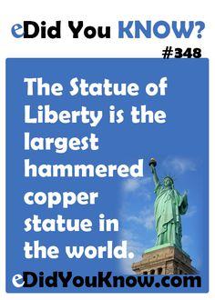 ► The Statue of Liberty is the largest hammered copper statue in the world. Pointless Facts, Wierd Facts, Odd Facts, Wtf Fun Facts, Random Facts, True Facts, Amazing Facts, Interesting Facts, The More You Know