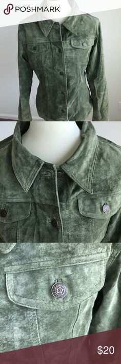 Green Suede Jacket Suede Jacket in army green color. Classic and timeless piece. Size Large For Joseph Jackets & Coats