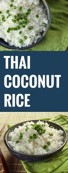Coconut Rice: 1¾ cups water 1 can (1¾ cups) coconut milk ½ tsp. salt 2 cups jasmine rice #thaifoodrecipes