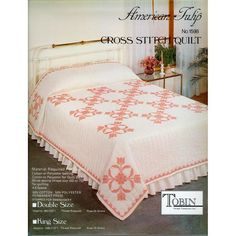 "American Tulip Stamped Cross Stitch Quilt - 90"" x 103"""