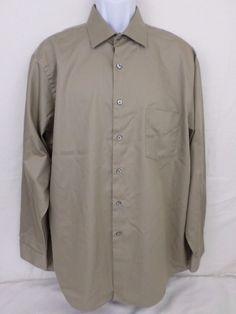 Van Heusen Lux Sateen Wrinkle Free Tan Reg Fit  17 1/2 34/35 Long Sleeve Shirt #VanHeusen #ButtonFront