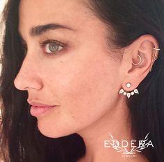 Eddera's Clara White Topaz Earrings Earjacket Bridal Jewelry 18k Gold Plated