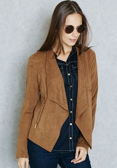 Shop Dorothy perkins browns Waterfall Suedette Jacket for Women in ...