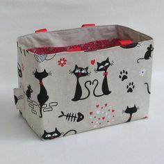 739c7bcc99 Panier multi poches, en tissu chat noir, organisateur, rangement, panière  accessoire couture, cadeau femme fête des grands mères