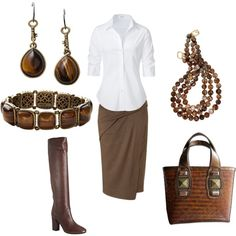 Donna Karan Brown Skirt Cute, for me, I'd need some color.  Possibly the necklace and the purse