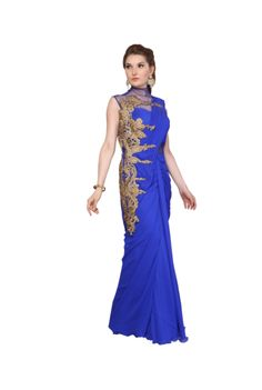 Blue High Neck Saree With Side Golden Border