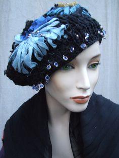 BOUQUET OF CORNFLOWERS. knitted hat handmade silk by JARMOLOWSKA, zł350.00