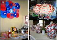Baseball baby shower cake, food, favors, pinwheels, decoration ideas