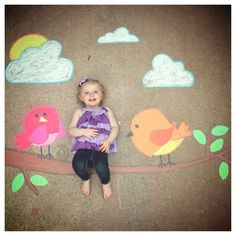 Pretty Bird sidewalk chalk art
