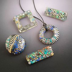 Resin and polymer clay by Lizards Jewelry.