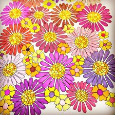 I feel like this is a good representation of what the 70's looked like.  Yes?  No?  This is from Jenean Morrison's Flower Designs Coloring Book, Volume 1. If you don't own any of her books, you're missing out.  They are beautiful.  #jeneanmorrison #flowerdesigns  #flowerdesign #colouredpencil #coloredpencil #colors #art #arttherapy #artpens #adultcolouring #adultcoloringbook #adultcolouringbook #coloring