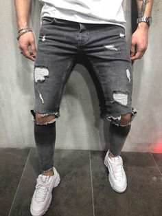 Ripped Knee Out Jeans 3764 Streetwear Jeans, Streetwear Fashion, Denim Shirt With Jeans, Ripped Jeans, Denim Shirts, Ripped Knees, Pantalon Slim, Fashion Moda, Male Fashion