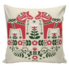 Holiday Pillow Cover Swedish Scandinavian Christmas Dala Horse French Style Burlap Cotton Throw Pillow CH-176