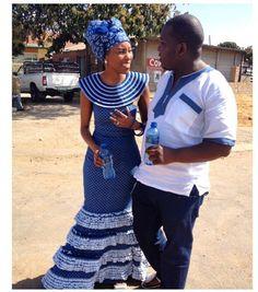 shweshwe dresses 2016 Archives - style you 7 Couples African Outfits, African Dresses For Women, African Attire, African Wear, African Fashion Dresses, African Style, Setswana Traditional Dresses, South African Traditional Dresses, Traditional Wedding