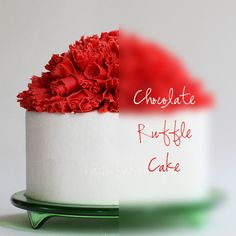 Christmas Inspired Cake covered in mounds of Red Chocolate Ruffles Frosting Recipes, Cupcake Recipes, Cupcake Cakes, Cupcakes, Red Chocolate, Chocolate Curls, Christmas Cakes, Christmas Sweets, Dessert Decoration