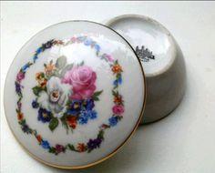 Vintage Porcelain Trinket Box floral porcelain by reveriefrance