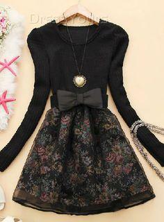 US$24.19 Latest Korean Style Round Neckline Split Joint Long Sleeve Sweater Dress. #Dresses #Sweater #Long #Dress