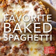 This yummy baked spaghetti casserole will be requested again and again for potlucks and family gatherings. It's especially popular with my grandchildren, who just love baked spaghetti with all the cheese. —Louise Miller, Westminster, Maryland Great Recipes, Dinner Recipes, Favorite Recipes, Best Food Recipes, Brunch Recipes, Beef Dishes, Food Dishes, Pasta Dishes, Tasty Videos