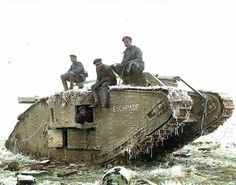Mk. IV British Tank, captured by Germans near Cambrai, France.