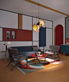 50 Piet Mondrian Inspired Amazing Interior Design Ideas To Give Your Home The De Stijl Flair - Page 17 of 17 Design Bauhaus, Bauhaus Interior, Interior Design Tips, Interior And Exterior, Interior Decorating, Design Ideas, Colour Architecture, Design Salon, Design Trends