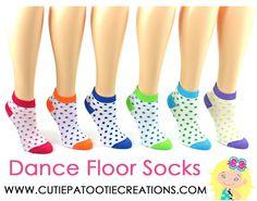 Dance Floor Party Socks - Rainbow Bright Polka Dot Mitzvah Socks - Bar and Bat Mitzvah Socks by Cutie Patootie Creations
