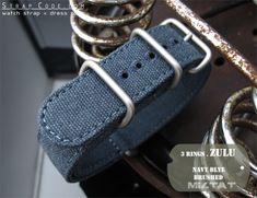 MiLTAT 20mm Washed Canvas Zulu Marineblau doppelte Dicke Uhrenarmband, Steppstich-Rundloch