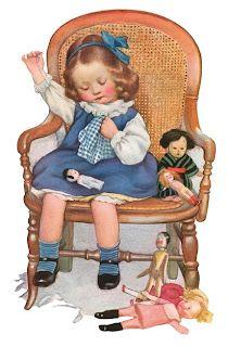 VintageFeedsacks: Free Vintage Clip Art - Sweet Little Girl Making Doll Clothes