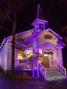 Purple/violet lights decorating a church for Christmas