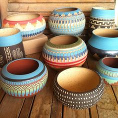 Navajo-inspired pottery planters. I want them all!!  www.claykedem.etsy.com