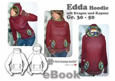 Edda, sweater, hoodie, sewing instructions with pattern, size 30-Illustrated with sewing patterns (27 pages) in original size Multivariable section of size 30 to 50, XS-XL included Size Chart Prerequisite computer and printer PDF file of 72 pages with more than 200 color photos Shipping via download Prices include VAT (where applicable) Free Shipping   This eBook sewing instruction is in GERMAN  Visit our blog: http://firstloungeberlin.blogspot.com  You need a simple printer for A4. We have…