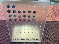 Sterling Silver Stud Earrings with Rhinestones by Klcvintagetreasures on Etsy