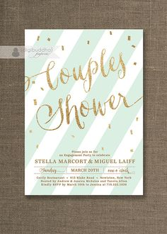 Mint & Gold Couples Shower Invitation with Gold Glitter Confetti detailing by digibuddhaPaperie, $20.00