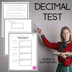 Adding and Subtracting Decimal Math Assessment by Innovative Teacher Elementary Teacher, Upper Elementary, Math Assessment, Adding And Subtracting, Decimal, Math Workshop, Word Problems, Teaching Tips, Working Area