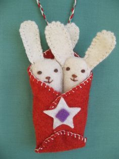STAR BUNNIES, handmade felt tree ornaments, free shipping