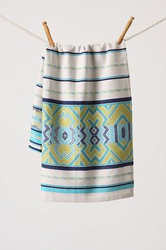 paracas dishtowel from anthropologie for tiffany blue and green accents in the kitchen