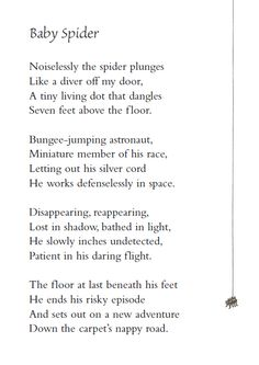 The spider and the fly poem google search poems prayers and baby spider poem to go with a spider craft ccuart Image collections