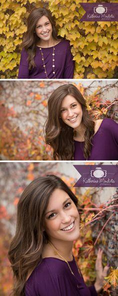 Senior Model Shoot. Gorgeous fall leaves. Beautiful brunette. Purple Top. #senior #seniorgirl #seniorgirlpose Senior picture ideas for girls. For more from this session visit http://www.katherinemphoto.com/rachel-senior-portrait-model-iowa-minnesota-photographer/