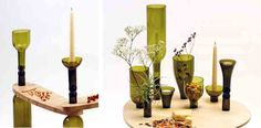 User-Designed Table Using Recycled Wine Bottles - Urban Gardens Reuse Wine Bottles, Wine Bottle Candles, Recycled Wine Bottles, Wine Bottle Crafts, Recycled Glass, Homemade Modern, Homemade Wine, Wine Cork Art, Wooden Wine Boxes