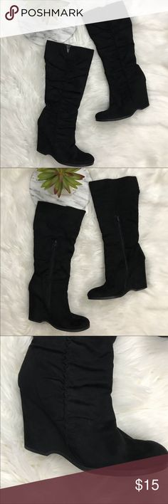"""Mia 2 Black Knee High Suede Wedge Boots Mia 2 Black Knee High Suede Wedge Boots. Size 9.5, fits like a 9.  •Heel height: 4"""" •Condition:  VGUC, flaw on inner left seam. No major wear visible. Bottoms intact.   Please feel free to comment with any questions (no trades/modeling). 15% off all Bundles or 2+ items! Reasonable offers welcome.   BIN: C1 Mia Shoes Heeled Boots"""