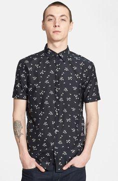 John Varvatos Star USA Slim Fit Short Sleeve Floral Sport Shirt