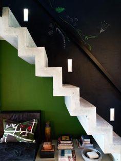 Jimmy Schönning's apartment in Stockholm #black #green #stairs