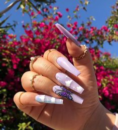 cute trendy long lavender coffin butterfly and coffin acrylic nails Purple Acrylic Nails, Best Acrylic Nails, Summer Acrylic Nails, Purple Nails, Blush Nails, Aycrlic Nails, Swag Nails, Edgy Nails, Glitter Nails