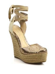 Schutz - Ema Glitter Espadrille Platform Wedge Sandals